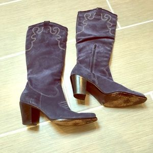 Via Spiga Blue Suede Cowgirl boots
